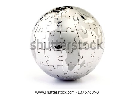 Globe puzzle isolated on white