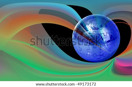 Globe puzzle on abstract  background