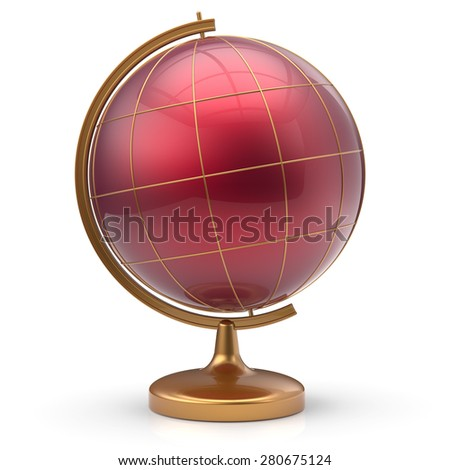 Globe red blank planet Mars global geography school studying world cartography symbol icon. 3d render isolated on white background - stock photo