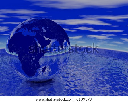 Globe reflecting ocean and sky. Render