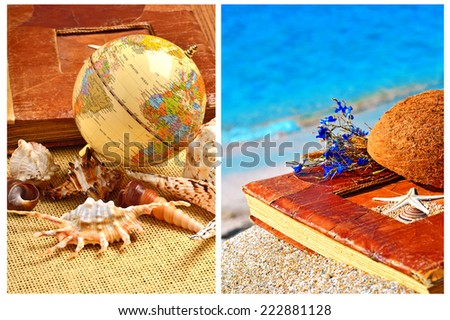 Globe, seashells, old album. Vintage album on the sand with coconut shell and flowers. Collage - stock photo