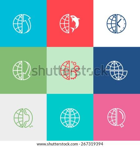 Globe set. Flat color raster icons. - stock photo