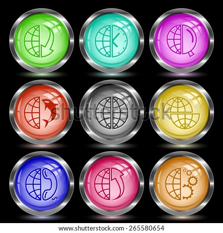 Globe set. Internet button. Raster illustration. - stock photo