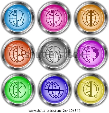 Globe set. Raster internet buttons. - stock photo