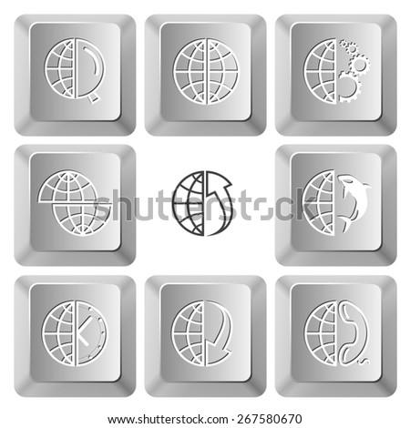 Globe set. Raster set computer keys. - stock photo