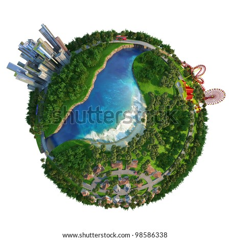 Globe showing three different activities of modern lifestyle, home at suburbs, down town to work, and amusement park for leisure time. - stock photo