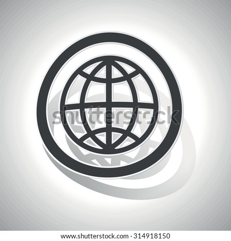 Globe sign sticker, curved, with outlining and shadow - stock photo