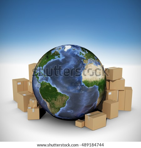 Globe surrounded by cardboard boxes against white background with vignette