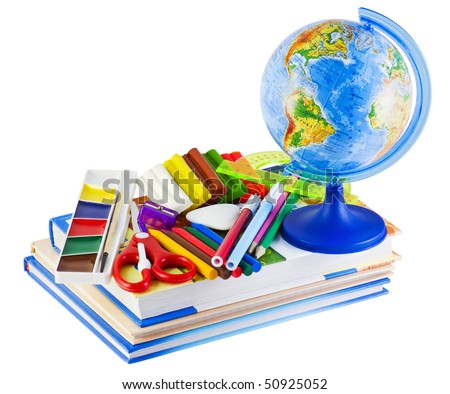 Globe, textbooks and other school supplies - stock photo