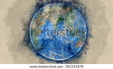 Globe water painting on paper illustration