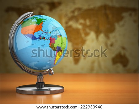 Globe  with a political map on vintage background. 3d - stock photo