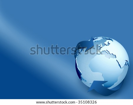 Globe with arrows surrounding it isolated over blue