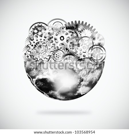 globe with cogs and gears, industrial and technology background - stock photo