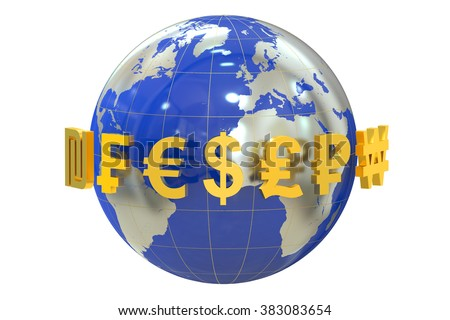Globe with currency symbols isolated on white background - stock photo