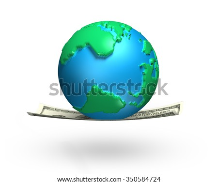 Globe with 3d world map on money flying carpet, isolated on white background.