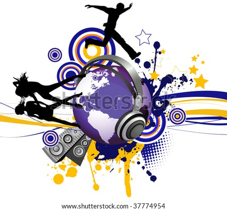 Globe with dancing youth men and women. Music city. Raster version of vector illustration. - stock photo