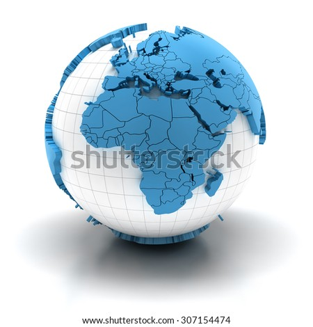 Globe with extruded continents and national borders, Europe and Africa region - stock photo