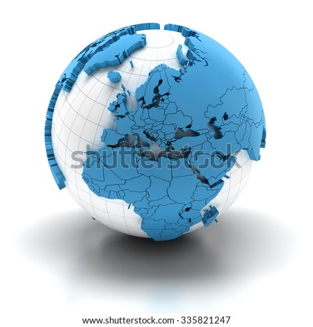 Globe with extruded continents and national borders, Europe and Africa regions