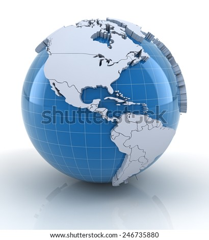 Globe with extruded continents and national borders, north and south america regions - stock photo