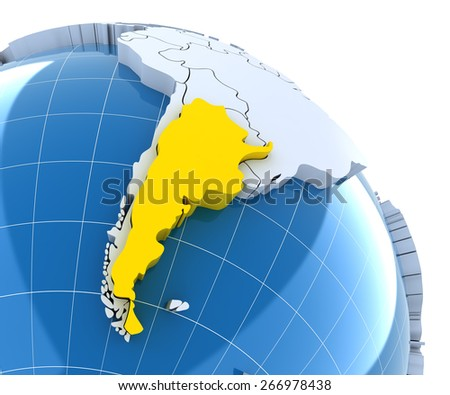 Globe with extruded continents, close-up on Argentina, 3d render - stock photo