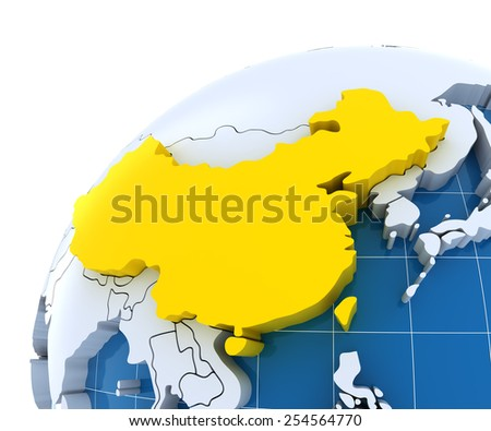 Globe with extruded continents, close-up on China, 3d render - stock photo