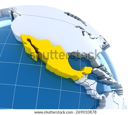 Globe with extruded continents, close-up on Mexico, 3d render - stock photo