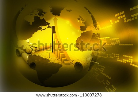 Globe with Financial Chart - stock photo
