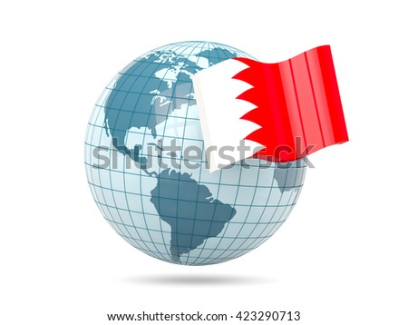 Globe with flag of bahrain. 3D illustration