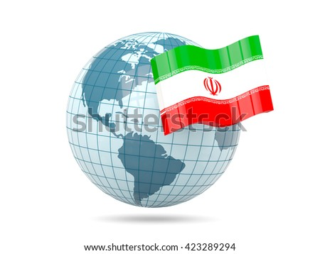 Globe with flag of iran. 3D illustration - stock photo