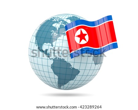 Globe with flag of korea north. 3D illustration