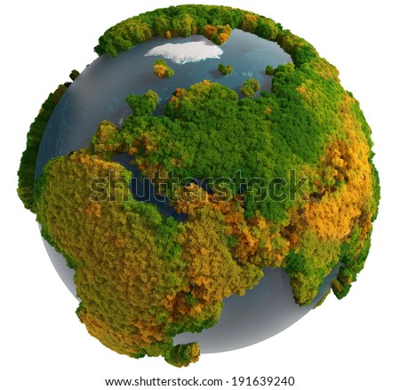 Globe with fur continents - stock photo