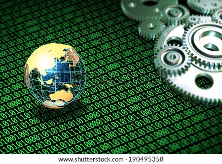 Globe with gears and computer symbols - stock photo
