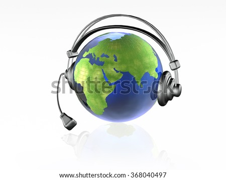 Globe with headphones on the white background.