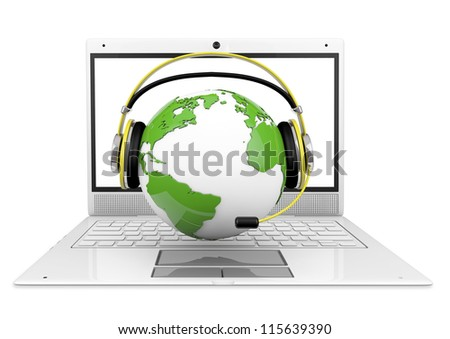 globe with headphones, over a laptop, 3d generated, business metaphor, helpline, call center, etc. - stock photo