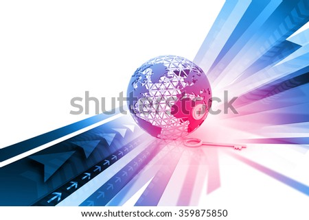 Globe with key on abstract background - stock photo