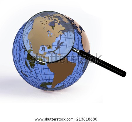 Globe with magnifying glass over USA - stock photo