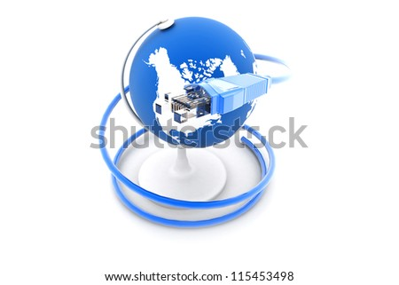 globe with network cables