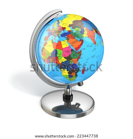 Globe with political map on white isolated background. 3d - stock photo