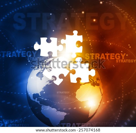 Globe with puzzle , business strategy concept  - stock photo