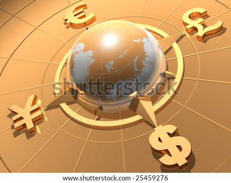 Globe  with symbols of Dollar,  Euro, Pound,  and Yen