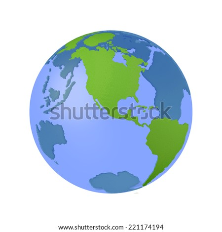 Globe with transparent oceans. 3d model of Earth Planet isolated on white - stock photo