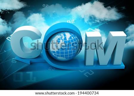 globe with word dot com - stock photo