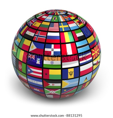Globe with world flags isolated on white background - stock photo