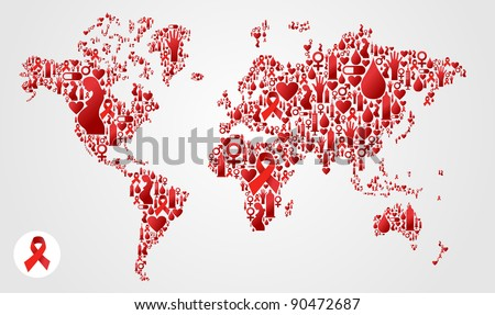 Globe World map silhouette made with AIDS icon set. - stock photo