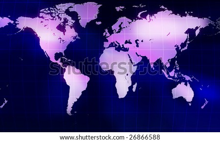 Globe world map with mesh  on blue background