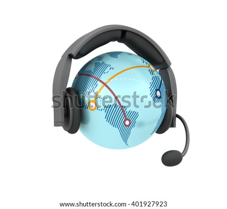 Globe World with Headset on White Background - High Quality 3D Render