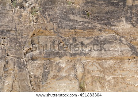 Globerigina Limestone walls surrounding Valletta the capital of Malta, Europe.  Backgrounds for many film sets, including Gladiator, Troy, World War Z and Assassin's Creed. - stock photo