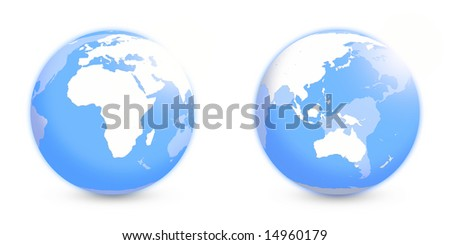 Globes with Africa and APAC regions without coordinate grid over white