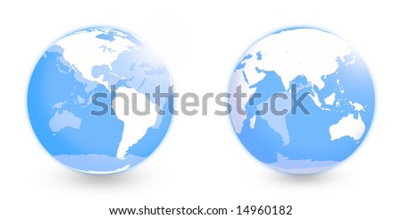 Globes with Americas and Middle East regions without  coordinate grid over white - stock photo