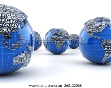 Globes with names of major cities in the world, 3d render